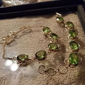 New womens necklace &bracelet green 925